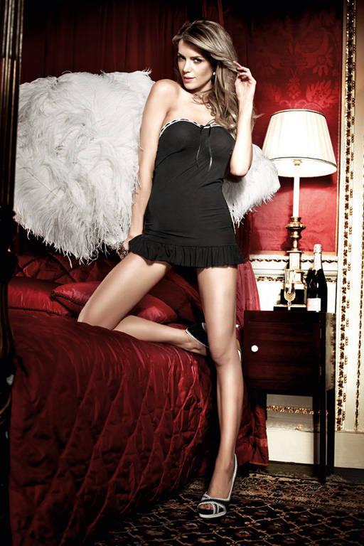 Черное платьице без бретелек и с белым кружевом по декольте Have Fun Princess - фото 212430