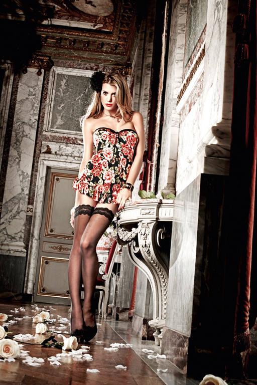 Черное платьице без бретелек с роскошным цветочным узором Dolce Vita - фото 212572