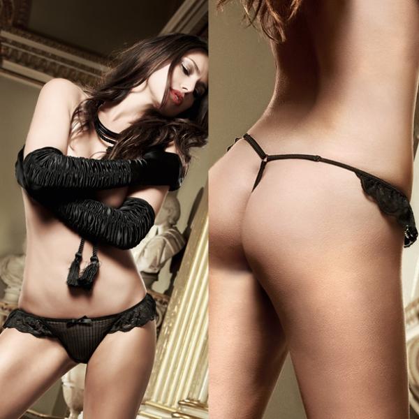 Черные трусики-стринг из тюлевой ткани в полосочку и рюшами Agent Of Love - фото 287535