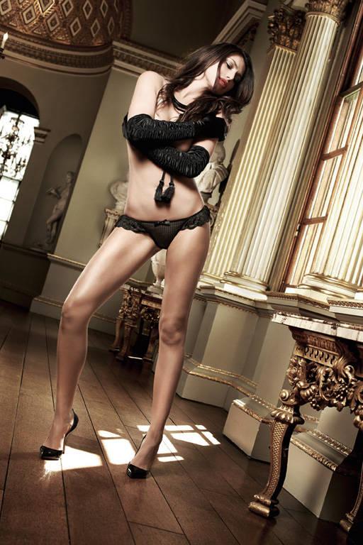 Черные трусики-стринг из тюлевой ткани в полосочку и рюшами Agent Of Love - фото 287532
