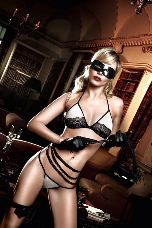 Светло-бежевый комплект-бикини с черным кружевом Agent Of Love - фото 213128