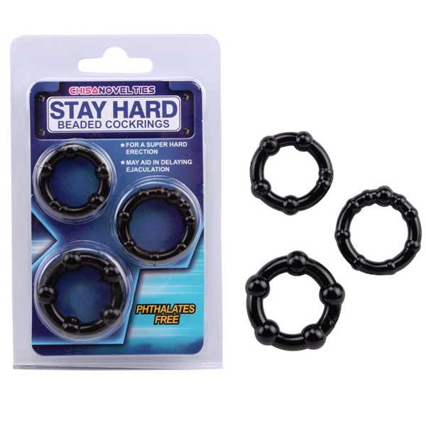 Набор из 3 черных стимулирующих колец Beaded Cock Rings