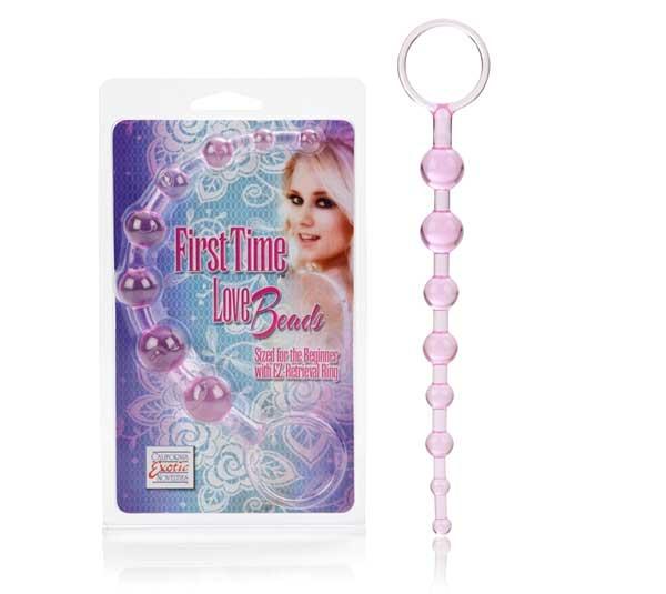 Розовая анальная цепочка First Time Love Beads - фото 208949