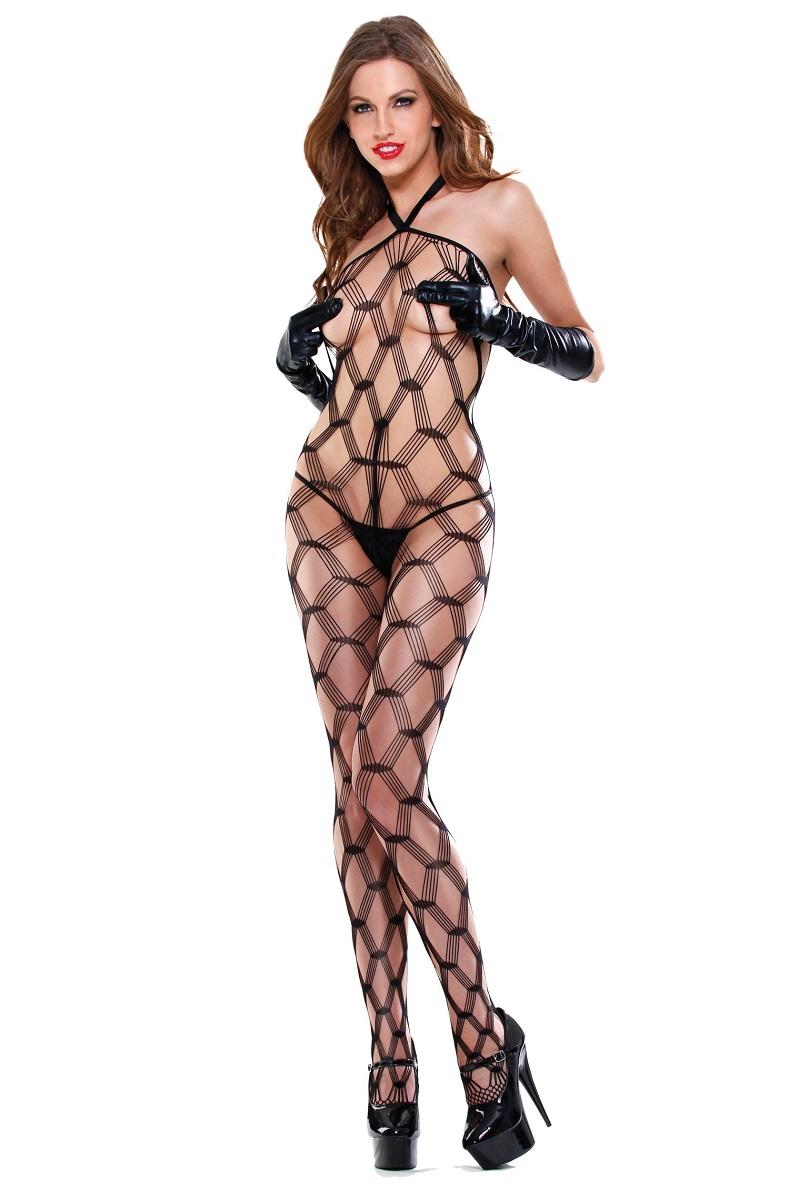 Чулок на тело в крупную сетку Dream Weaver с боа, стрингами и перчатками - фото 524172