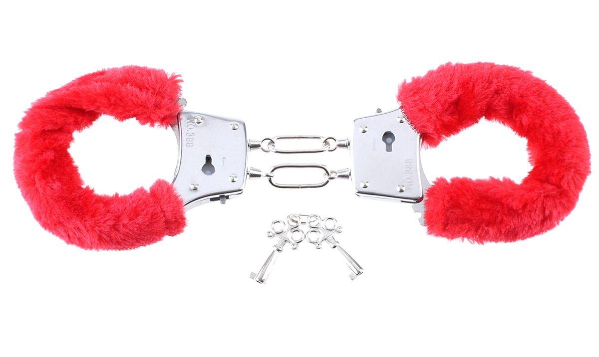 Наручники с красным мехом Beginners Furry Cuffs - фото 8356