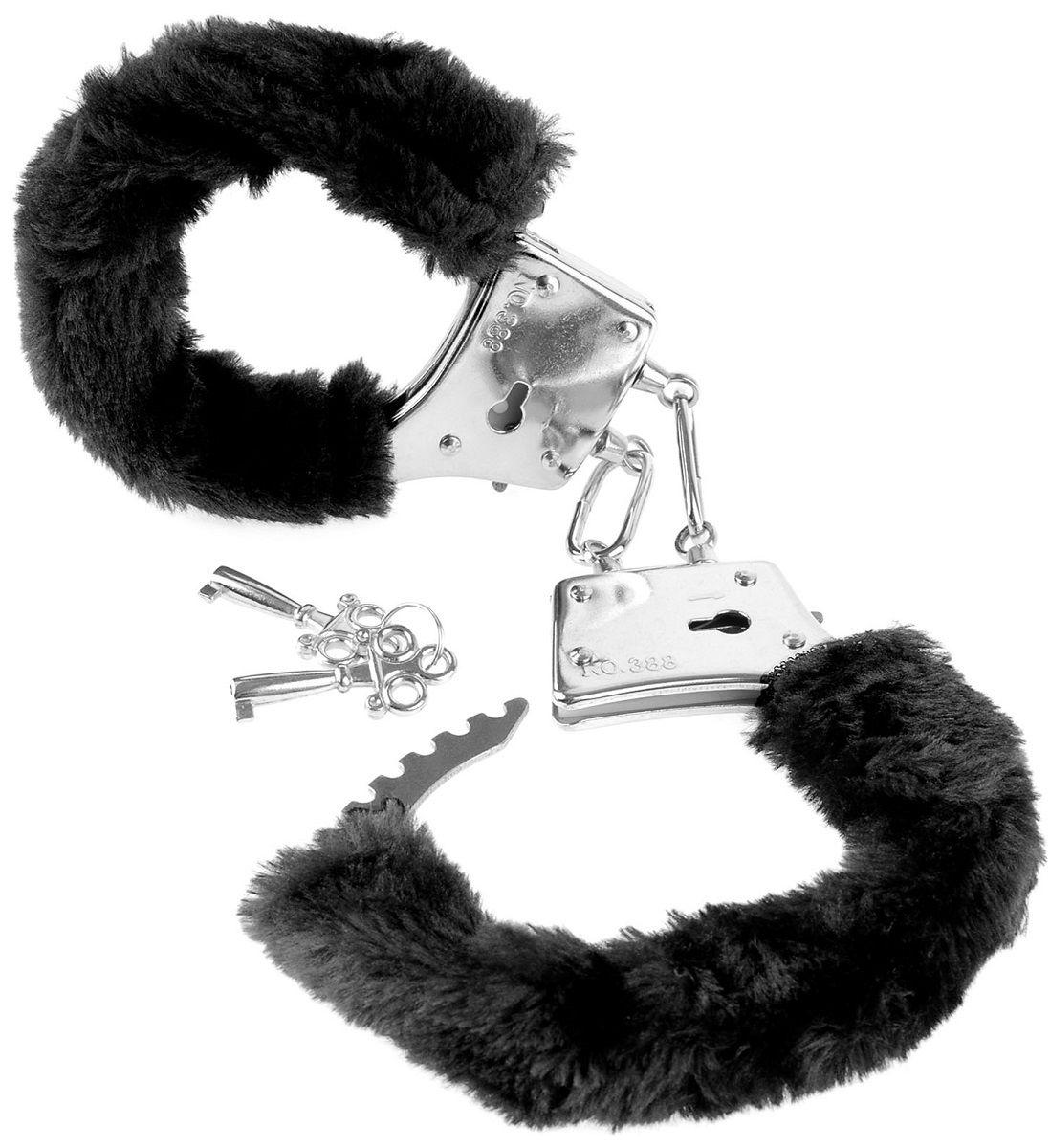 Меховые чёрные наручники Beginner s Furry Cuffs