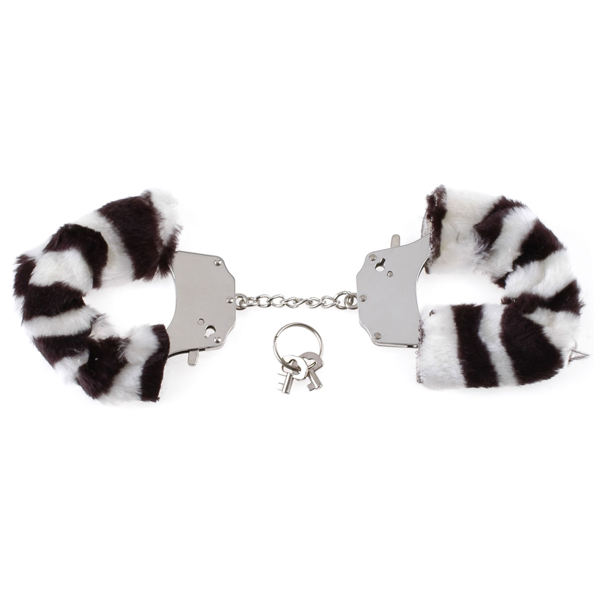 Металлические наручники Original Furry Cuffs с мехом под зебру - фото 524306