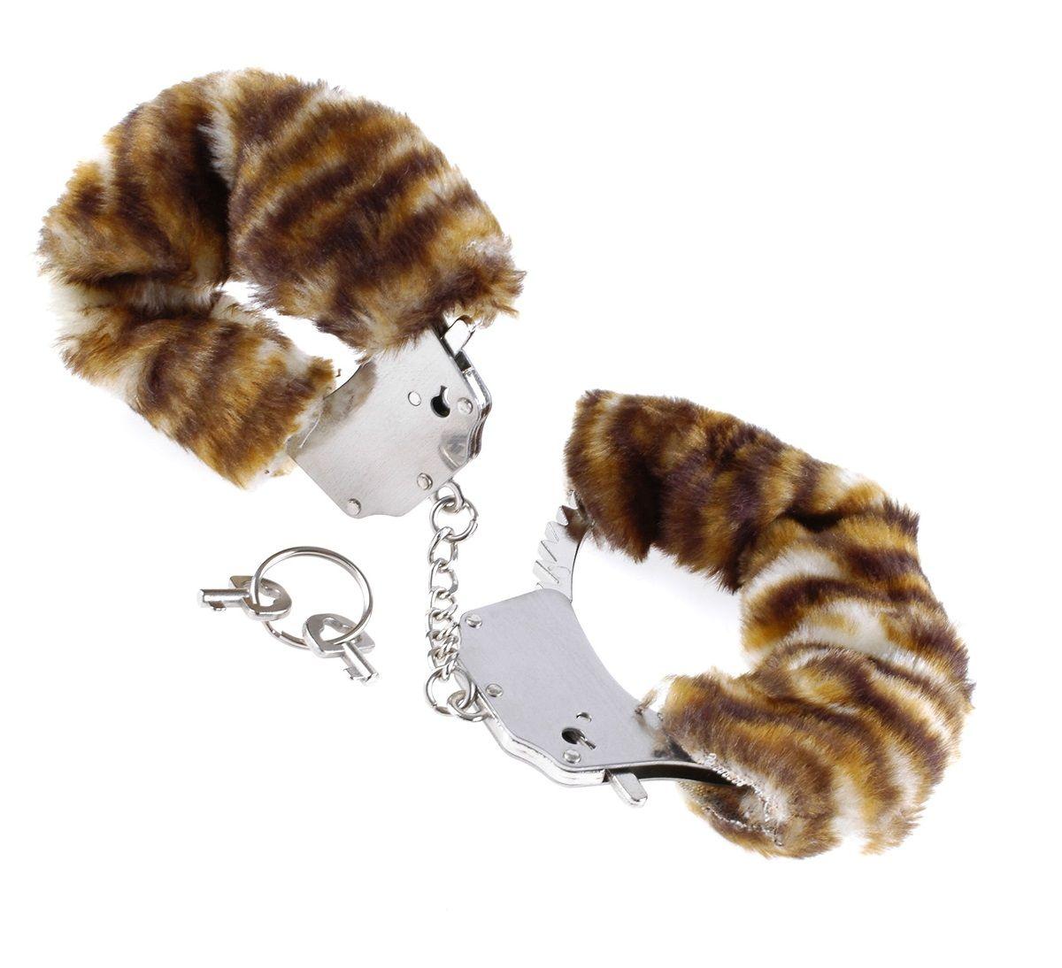 Металлические наручники Original Furry Cuffs с мехом под тигра - фото 133545