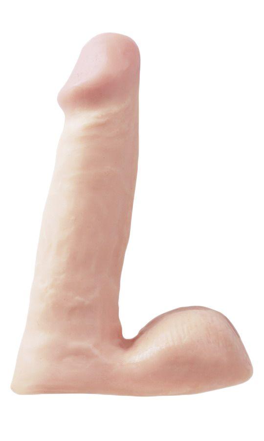 Фаллоимитатор с мошонкой BASIX - 15,2 см. - фото 524319