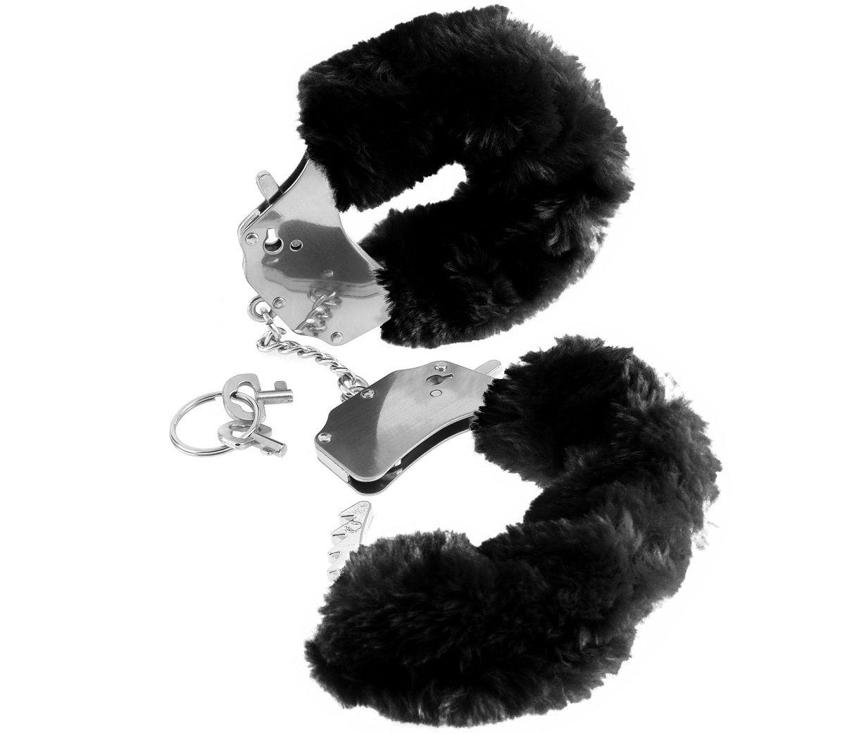 Металлические наручники Furry Love Cuffs с черным мехом - фото 133572