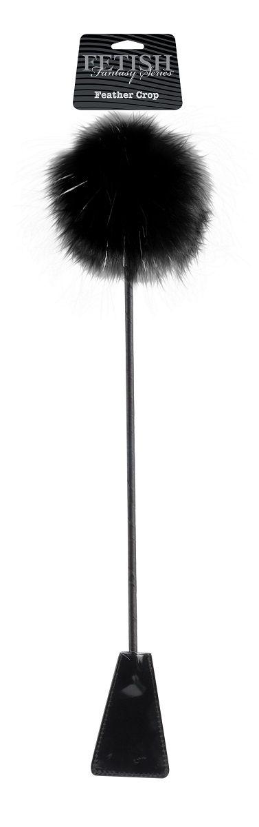 Черный стек Feather Crop с пуховкой на конце - 53,3 см. - фото 134218