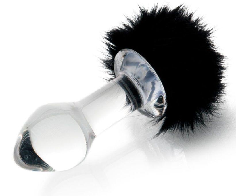 Стеклянная анальная втулка с черным хвостиком - 9,5 см. - фото 8999