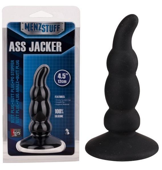 Чёрный анальный стимулятор ASS JACKER - 12 см.