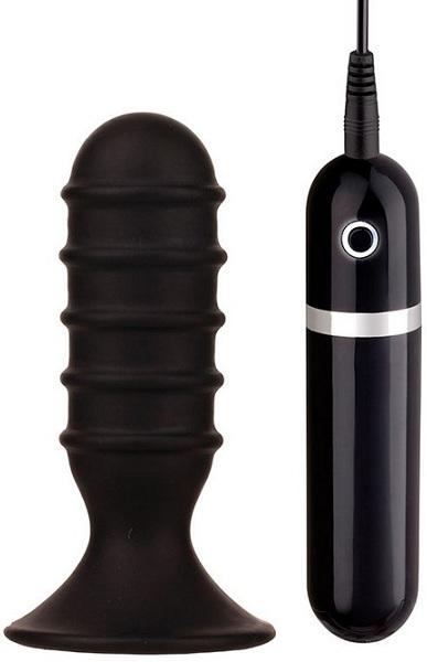 Чёрная анальная вибропробка с рёбрышками - 10 см. - фото 134349