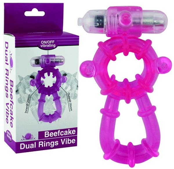 Фиолетовое эрекционное виброкольцо Beefcake Dual Rings Vibe - фото 214953