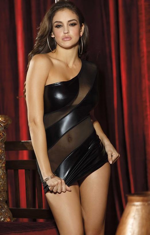 Мини-платье со спиралевидной прозрачной вставкой - фото 215226