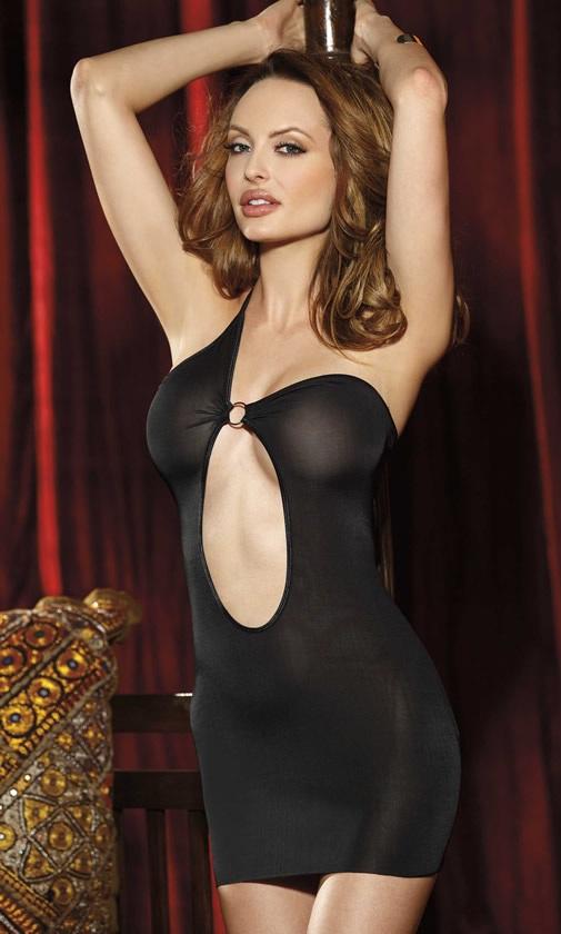 Полупрозрачное платье с одной бретелью - фото 215228