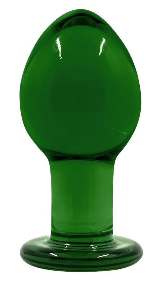 Зеленая стеклянная анальная пробка Crystal Medium - 7,5 см. - фото 296546