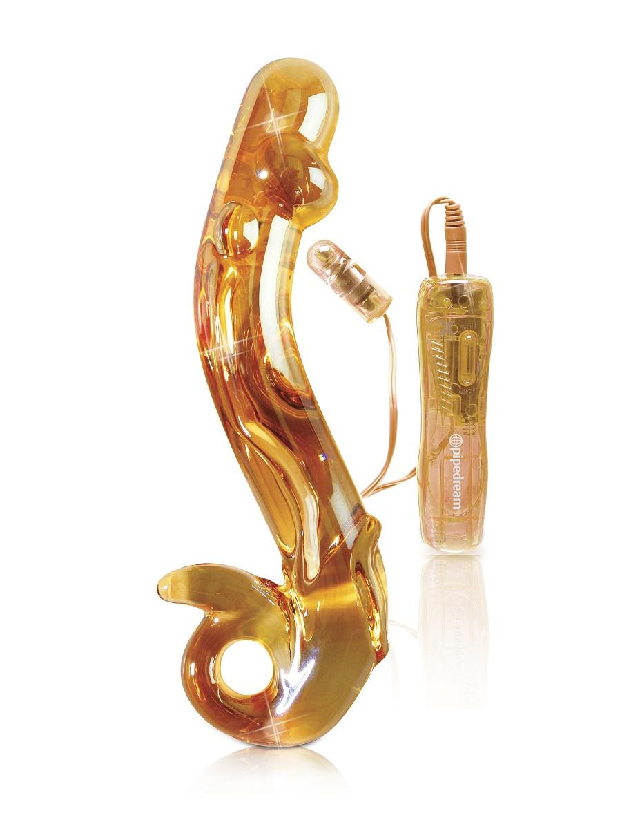 Желтый стеклянный фаллос с вибропулей ICECLES №35 - 18,5 см. - фото 215542