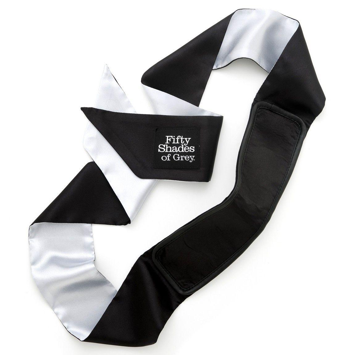 Черно-серая повязка на глаза Satin Deluxe Blindfold - фото 1245430