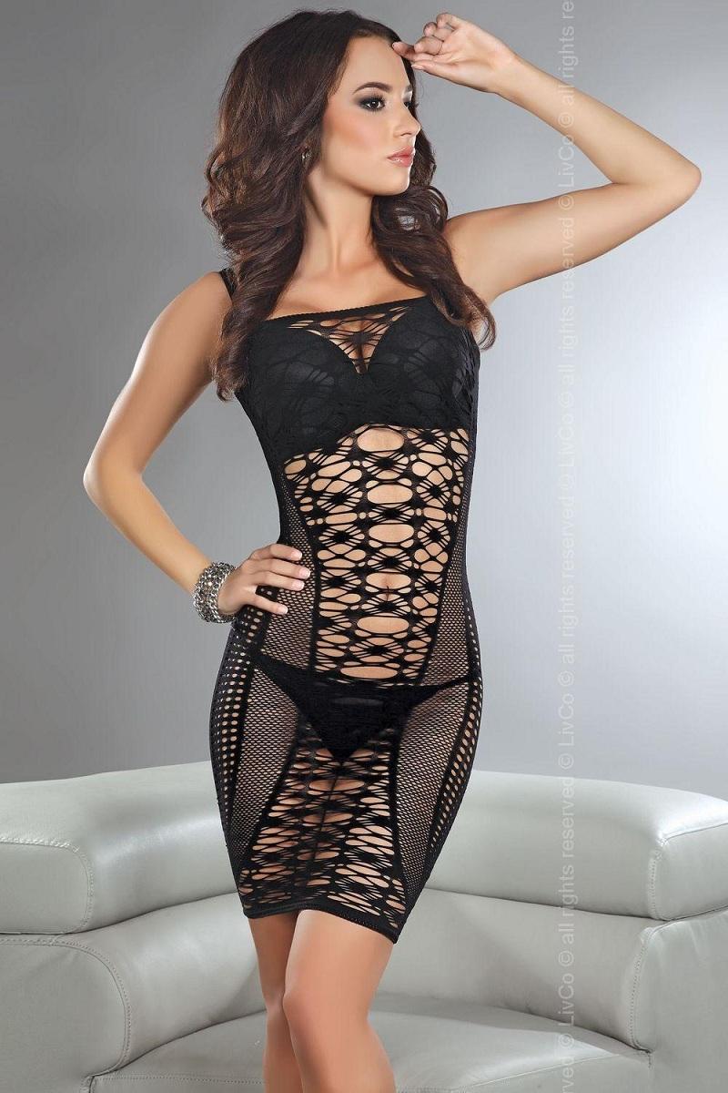 Сексуальное платье-сетка Florida на тонких бретелях - фото 215916