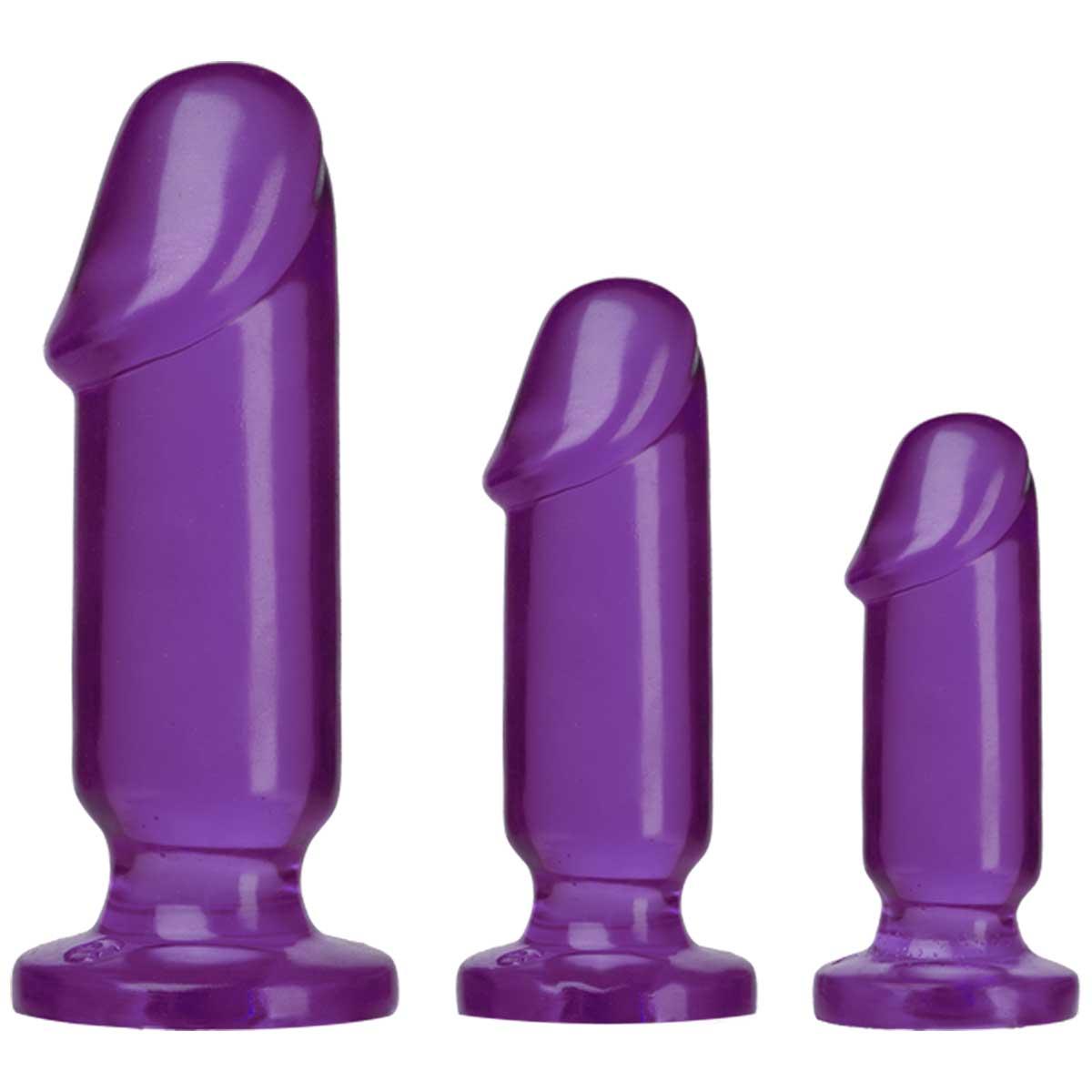 Набор из трех фиолетовых анальных фаллоимитаторов Crystal Jellies Anal Starter Kit - фото 134725