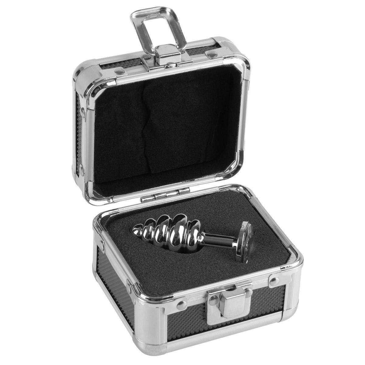 Анальная пробка Mini Ribbed Plug рифленая с кристаллом - 7,5 см. - фото 314406