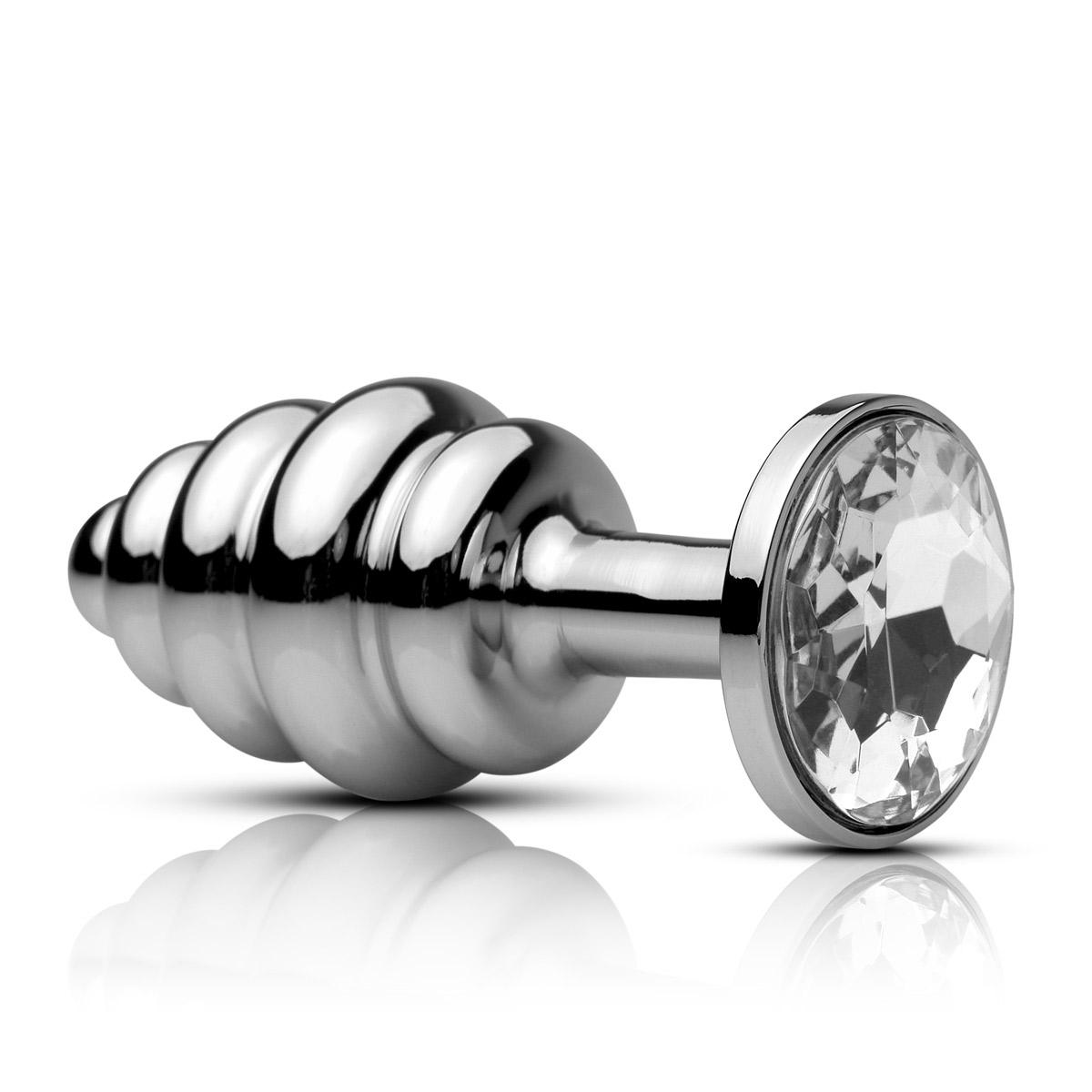 Анальная пробка Mini Ribbed Plug рифленая с кристаллом - 7,5 см. - фото 314404
