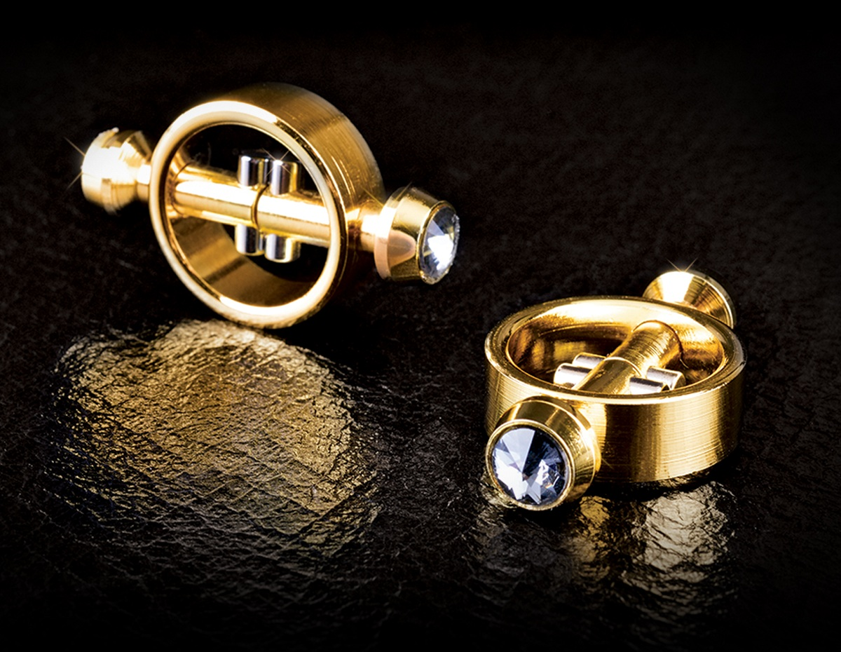 Золотистые зажимы на соски на магните Magnetic Clamps - фото 209899