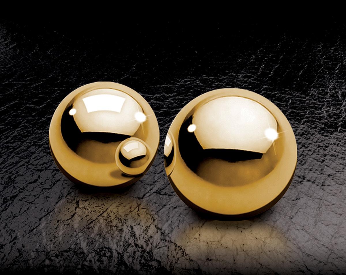 Вагинальные шарики Ben-Wa Balls золотистого цвета - фото 1191437