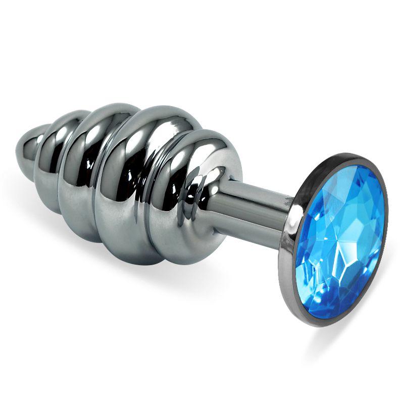 Серебристая ребристая анальная пробка с голубым кристаллом - 7,6 см. - фото 713968