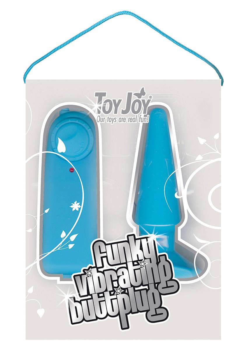 Голубая анальная пробка с вибрацией Funky Vibrating - 10,5 см. - фото 314816
