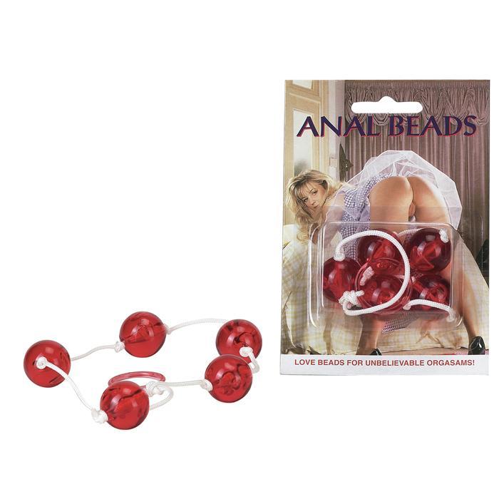 Красная анальная цепочка с пятью звеньями Anal Beads - фото 134652