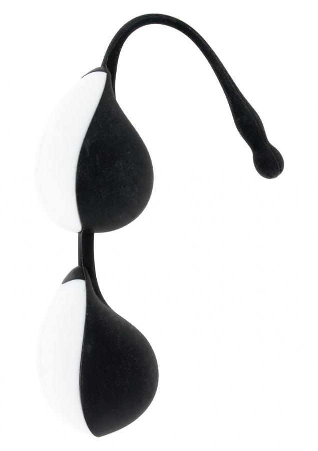 Чёрно-белые силиконовые вагинальные шарики Vibe Therapy Terah  - фото 241734