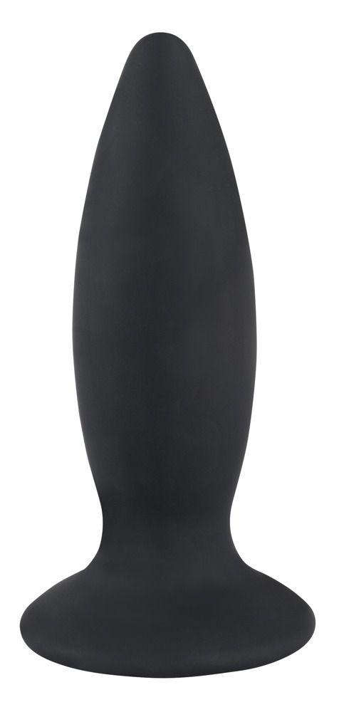 Чёрная перезаряжаемая анальная пробка Black Velvets Recharge Plug L - 14,7 см.