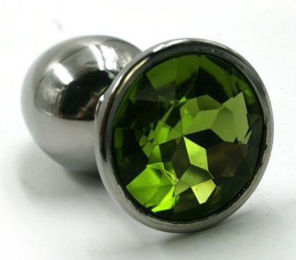 Серебристая маленькая анальная пробка с зеленым кристаллом - 6 см. - фото 220116