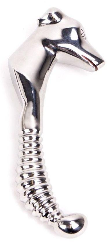 Серебристый стимулятор простаты с рукояткой в форме морды собаки Prostate Stimulator with Dogface