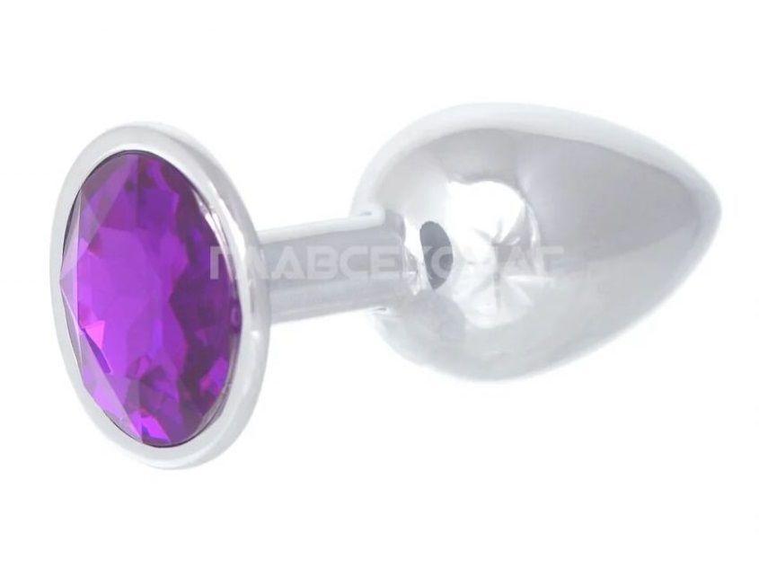Серебристая анальная пробка с фиолетовым кристаллом - 7 см. - фото 221098