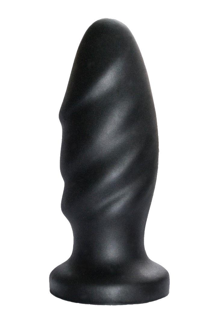 Чёрный спиралевидный анальный плаг - 12,9 см.