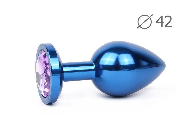 Коническая синяя анальная втулка с сиреневым кристаллом - 9,3 см.