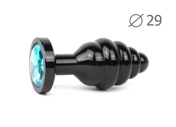Коническая ребристая черная анальная втулка с голубым кристаллом - 7,1 см.