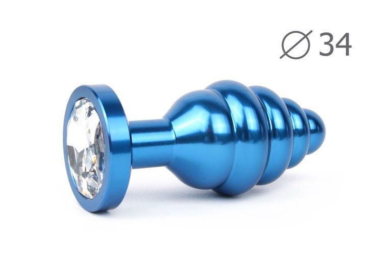 Коническая ребристая синяя анальная втулка с прозрачным кристаллом - 8 см.