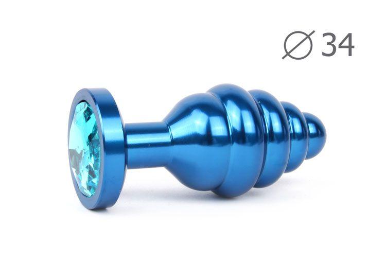 Коническая ребристая синяя анальная втулка с голубым кристаллом - 8 см.