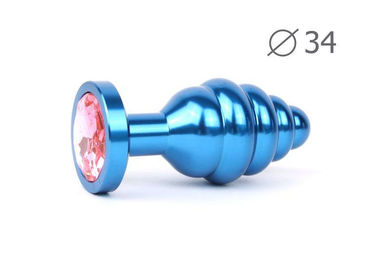 Коническая ребристая синяя анальная втулка с розовым кристаллом - 8 см.