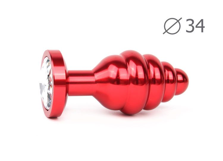 Коническая ребристая красная анальная втулка с прозрачным кристаллом - 8 см.