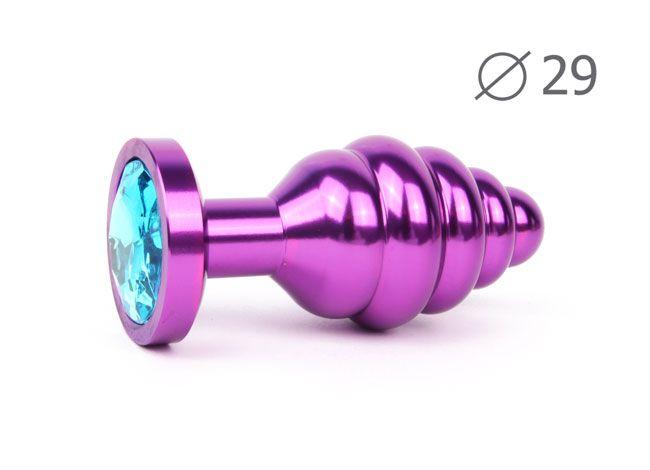 Коническая ребристая фиолетовая анальная втулка с голубым кристаллом - 7,1 см.