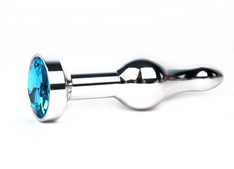 Удлиненная шарикообразная серебристая анальная втулка с голубым кристаллом - 10,3 см.