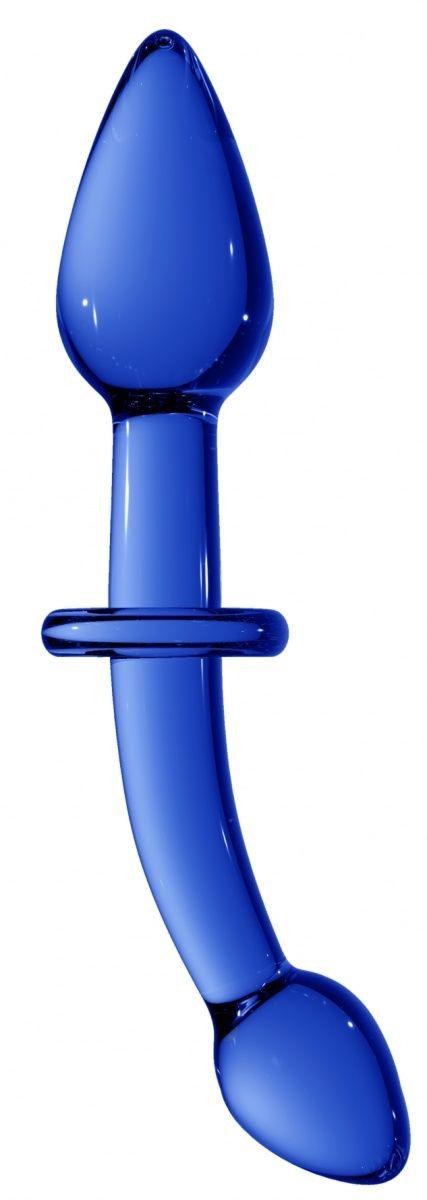 Синий двусторонний анальный стимулятор Doubler - 18 см.