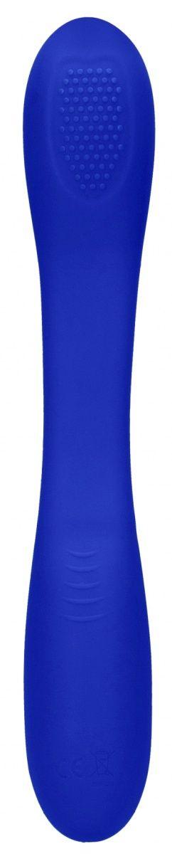 Синий двухсторонний вибратор Flex - 21,5 см.