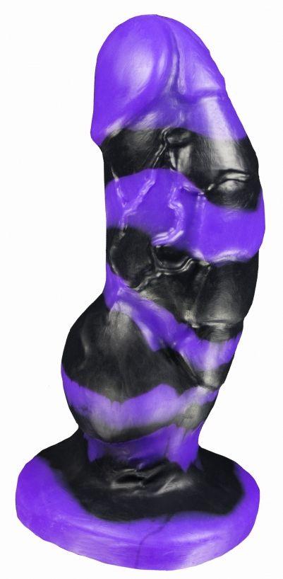 Черно-фиолетовый фаллоимитатор Мартин medium - 24,5 см.